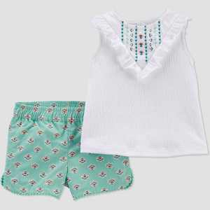 Baby Girls' Geo Top & Bottom Set - Just One You made by carter's Mint