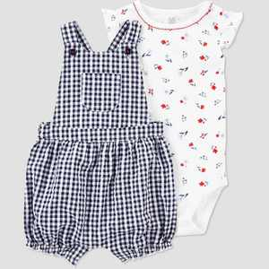 Baby Girls' Gingham Top & Bottom Set - Just One You made by carter's White/Blue