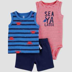 Baby Boys' Crab Top & Bottom Set - Just One You made by carter's Red/Blue