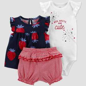 Baby Girls' Strawberry Top & Bottom Set - Just One You made by carter's Navy/Red