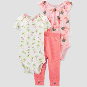 Baby Girls' Floral Top & Bottom Set - Just One You made by carter's Coral