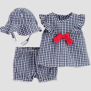 Baby Girls' Gingham Top & Bottom Set with Hat - Just One You made by carter's Blue