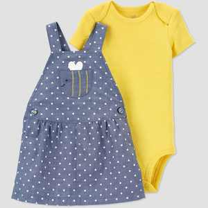 Baby Girls' Bee Chambray Top & Bottom Set - Just One You made by carter's Blue/Yellow