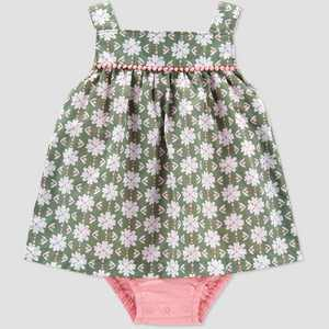 Baby Girls' Floral Geo Sunsuit Romper - Just One You made by carter's Olive