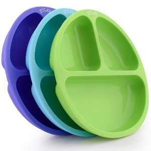 Zulay Kitchen Silicone Divided Baby Plates (3pcs) - Multicolored
