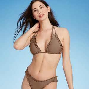 Women's Ruffle Triangle Bikini Top - Shade & Shore Hot Chocolate Brown