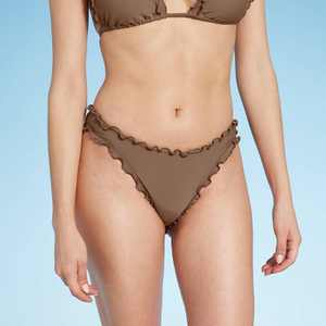 Women's Cheeky Ruffle Bikini Bottom - Shade & Shore Hot Chocolate Brown