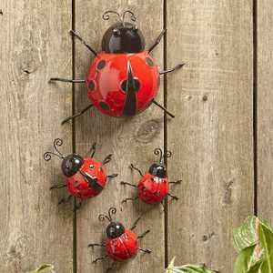 Lakeside Metal Ladybug Garden Decorations with Red and Black Spots - Set of 4