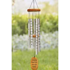 """Lakeside Amazing Grace Memorial 33"""" Wind Chimes with Sentimental Breeze Catcher"""