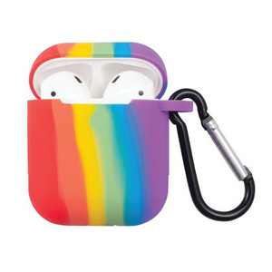 Insten Rainbow Pride Silicone Soft Touch Skin Protective Case Cover w/ Keychain (Support Wireless Charging) For AirPods 1 & 2