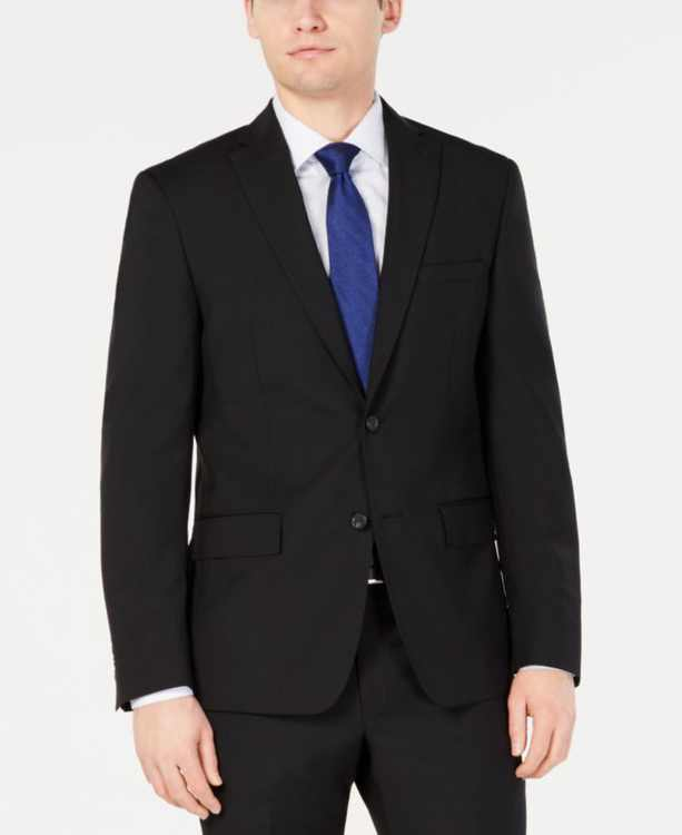 Men's Modern-Fit Stretch Black Solid Suit Jacket