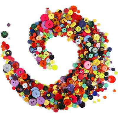 800 Pieces Round Rainbow Flatback Colorful Craft Resin Buttons 0.6-3cm with 4 Holes for DIY Crafts, Sewing and Scrapbooking