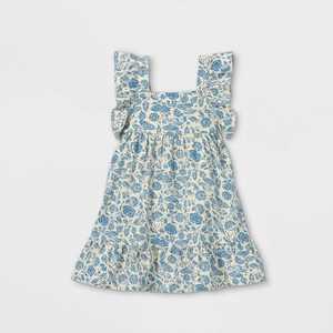 Toddler Girls' Floral Ruffle Sleeve Dress - Cat & Jack Blue