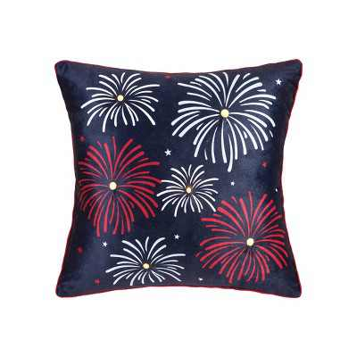 """C&F Home 18"""" x 18"""" Fireworks LED July 4th Pillow"""