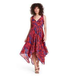 Tropical Leaf Tie Strap Asymmetrical Hem Dress - ALEXIS for Target Orange/Blue