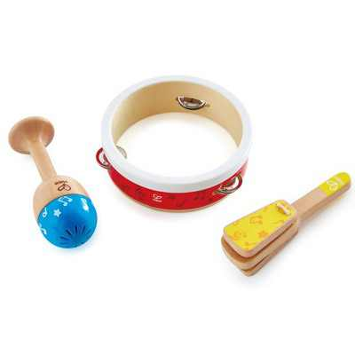 Hape E0615 Kids Toddler Preschool 3 Piece Wooden Musical Instrument Toy Junior Percussion Set with Tambourine, Maraca Shaker, and Clapper