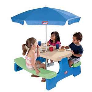 Little Tikes Easy Store Picnic Table with Umbrella - Green and Blue| 629952M