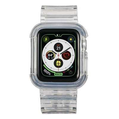 Insten Band and Case Compatible with Apple Watch 38mm 40mm Series 6/SE/5/4/3/2/1 - Crystal Strap with Rugged Bumper, Clear