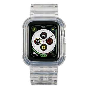 Insten Clear Watch Band Compatible with Apple Watch Series SE 6 5 4 3 2 1 38mm 40mm, Crystal Strap with Rugged Bumper, Transparent TPU