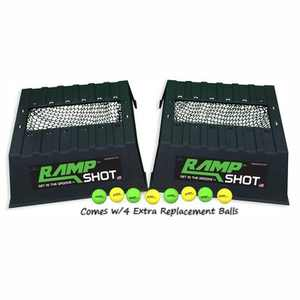 RampShot Plus Portable Outdoor Backyard Toss Game Set for 4 Players with 2 Plastic Ramps, 4 Racquetballs and Extra Set of Replacement Balls