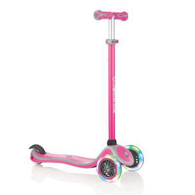 Globber 442-110 V2 3-Wheel Kids Kick Scooter with LED Light Up Wheels and Adjustable Height and Comfortable Grips for Boys and Girls, Pink