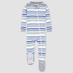 Burt's Bees Baby Baby Boys' One Piece Striped Snug Fit Footed Pajama - Heather Gray