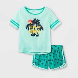 Girls' 2pc Tropical Pajama Set - Cat & Jack Green