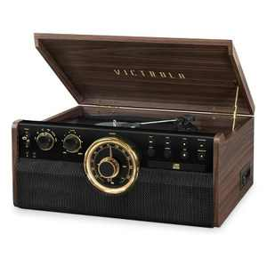 Victrola 6-in-1 Wood Empire Bluetooth Record Player with 3-Speed Turntable, CD, Cassette Player and Radio (Manufacturer Refurbished, Espresso)