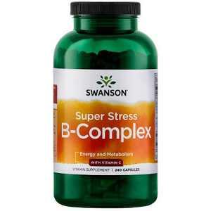 Swanson Super Stress Vitamin B-Complex with Vitamin C Capsules, 240 Count