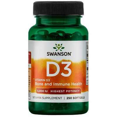 Swanson Highest Potency Vitamin D-3 Softgels, 5,000 IU, 250 Count.