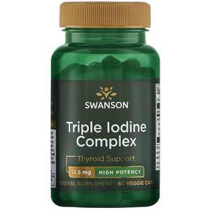 Swanson Triple Iodine Complex for Thyroid Support - High Potency 12.5 mg 60 Veggie Capsules.