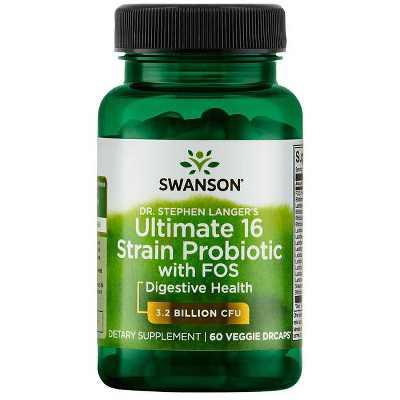 Swanson Dr. Stephen Langer's Ultimate 16 Strain Probiotic with Prebiotic Fos Vegetable Capsules, 3.2 Billion Cfu, 60 Count.