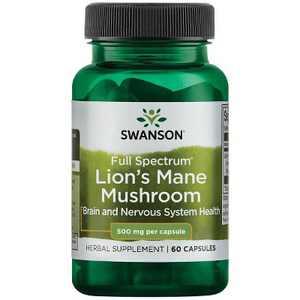 Swanson Full Spectrum Lion's Mane Mushroom Nootropic (Mycelium biomass) Capsules, 500 mg, 60 Count