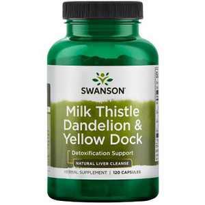 Swanson Milk Thistle Dandelion & Yellow Dock 120 Capsules.