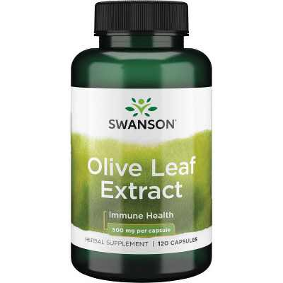 Swanson Olive Leaf Extract Capsules with 20% Oleuropein - Provides Immune Support, Promotes Cardiovascular System Health, and Supports Healthy Blood Pressure - (120 Capsules, 500mg Each).