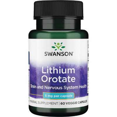 Swanson Lithium Orotate Vegetable Capsules, 5 mg, 60 Count