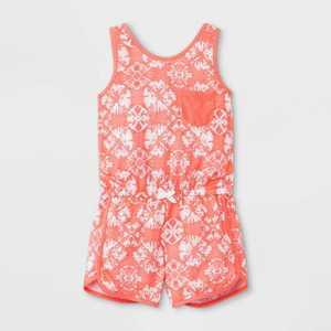 Girls' Tie-Dye Pajama Romper - Cat & Jack Coral
