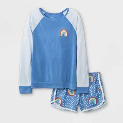 Girls' 2pc Rainbow Pajama Set - Cat & Jack Blue