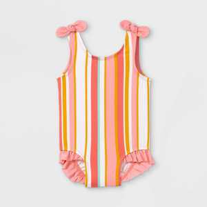 Baby Girls' Striped One Piece Swimsuit - Cat & Jack Coral