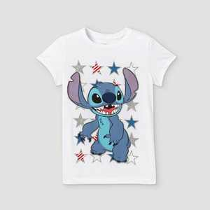 Girls' Disney Stitch Americana Short Sleeve Graphic T-Shirt - White