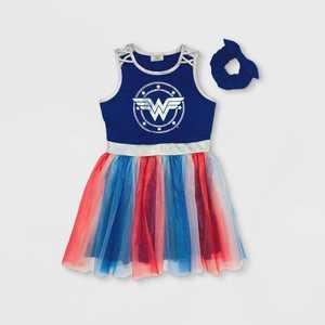 Girls' Wonder Woman A-Line Tutu Dress with Scrunchie - Navy