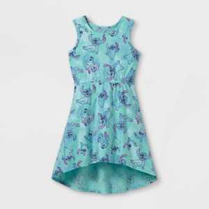 Girls' Disney Stitch Tank Top A-Line Dress - Blue