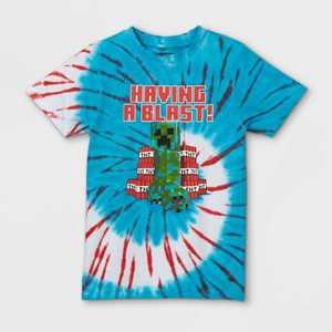 Boys' Minecraft Having a Blast! Tie-Dye Short Sleeve T-Shirt - White/Blue