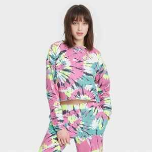 Women's Tie-Dye Cropped Fleece Lounge Sweatshirt - Colsie Pink