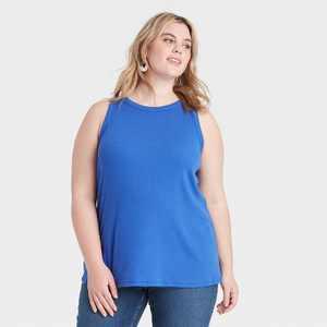 Women's Plus Size Ribbed Tank Top - Ava & Viv