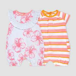 Burt's Bees Baby Baby Girls' 2pk Hibiscus Print and Striped Bubble Romper Set - Pink/Light Blue