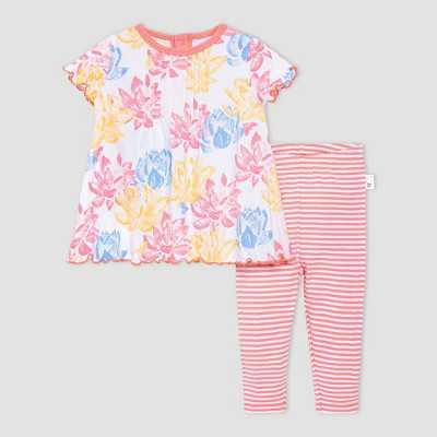 Burt's Bees Baby Baby Girls' Lotus Pond Tunic and Leggings Set - Pink/Blue