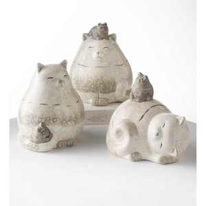 Wind & Weather Terra Cotta Cats with Kittens Sculptures, Set of 3