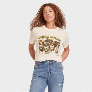 Women's The Beatles Short Sleeve Graphic Boyfriend T-Shirt - Off White