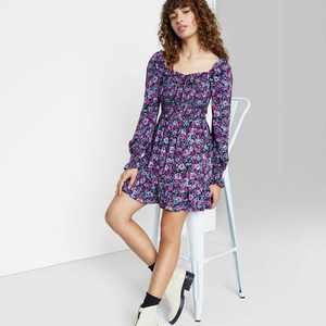 Women's Floral Print Long Sleeve Smocked Top Short Dress - Wild Fable
